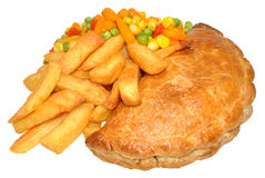 Pasty And Chips Meal Royalty Free Stock Images