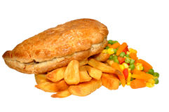 Pasty And Chips Meal Royalty Free Stock Image