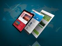 Pastylka pecet z stroną internetową na Błękitnym technologii tle Obrazy Stock