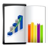 Pastylka pokazuje spreadsheet wykresu papier ilustracji