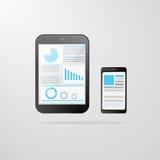 Pastylka telefonu komórkowego ikony wykresu komputerowy wektor Zdjęcie Royalty Free