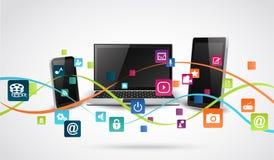 Pastylka telefony komórkowi z kolorową podaniową ikoną i komputer Obraz Royalty Free