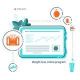 Pastylka z app online dieta plan, liście i mieszkanie ikony zdrowy styl życia, Sieć mobilny projekt obrazy royalty free
