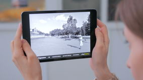 Pastylka zwiększająca rzeczywistość app Zdjęcia Stock