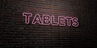 PASTYLKI - Realistyczny Neonowy znak na ściana z cegieł tle - 3D odpłacający się królewskość bezpłatny akcyjny wizerunek Zdjęcie Stock