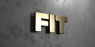 Pasvorm - Gouden teken opgezet op glanzende marmeren muur - 3D teruggegeven royalty vrije voorraadillustratie royalty-vrije illustratie