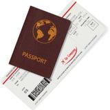 Paszport i abordaż przepustka odizolowywająca na bielu Zdjęcia Stock