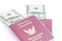 Paszport i dolar Zdjęcia Stock