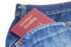Paszport w jego dyszy kieszeń Fotografia Stock