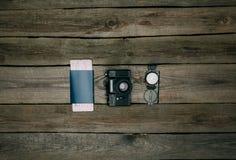 Paszport z bileta i filmu kamerą z kompasem Obrazy Royalty Free