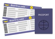 Paszporta i abordażu przepustki odizolowywać na białym tle Podróży pojęcia ilustracja, mieszkanie styl Fotografia Royalty Free