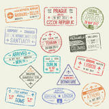 Paszporta znaczek międzynarodowej podróży wizy projekt ilustracja wektor