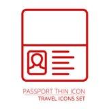 Paszportowej ikony ciency kreskowi prości kontury Ilustracja Wektor