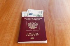 Paszporty na stole Obrazy Royalty Free