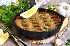 Patè dal fegato e dalle verdure del manzo al forno in padella Fotografie Stock