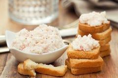 Patè dei frutti di mare con i pani tostati Fotografia Stock Libera da Diritti