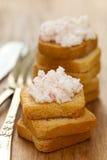 Patè dei frutti di mare con i pani tostati Fotografie Stock