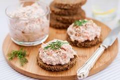 Patè, del salmone affumicato del formaggio cremoso, dell'aneto e del rafano sulle fette immagine stock libera da diritti