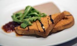 Patè e pane con vinager balsamico immagine stock