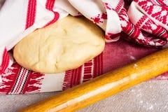 Patè o pasta freschi della pizza Fotografia Stock
