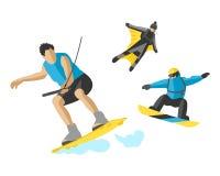 Patín de ruedas determinado de salto del skater del skydiver de la velocidad del monopatín de la vida del ejemplo de los extremes Imagen de archivo