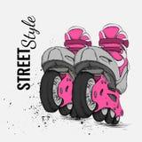 Patín de ruedas y fondo de la textura del Grunge Ilustración del vector Fotografía de archivo libre de regalías