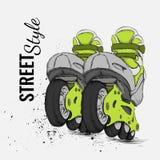 Patín de ruedas y fondo de la textura del Grunge Ilustración del vector Imagenes de archivo