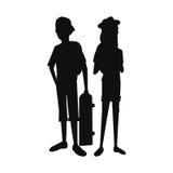 Patín y casquillo de la muchacha del muchacho de las adolescencias de la silueta stock de ilustración