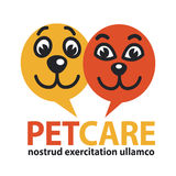 Pat care emblem with dog and cat faces in circles. Pat care orange and red colored emblem with dog and cat friendly cartoon faces in circles and big sign  on Stock Photo