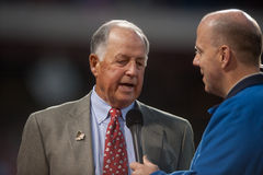 Pat Gillick. Former Philadelphia Phillie general manager and 2011 Baseball Hall of Fame inductee Pat Gillick being interviewed by Phillie announcer Tom McCarthy Stock Images
