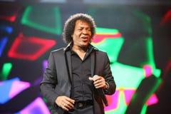 Pat Ottavan frontman sings on stage Royalty Free Stock Image