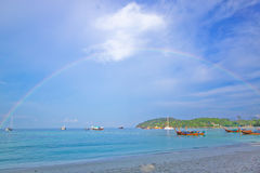 Pat ta Ya beach and rainbow on morning Stock Image