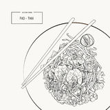 Pat Thai stir-fried rice noodle local Thailand food. Hand draw sketch vector stock illustration