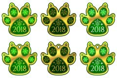 Pata 2018 del perro del Año Nuevo Conjunto de etiquetas engomadas stock de ilustración