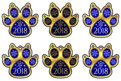 Pata 2018 del perro del Año Nuevo Conjunto de etiquetas engomadas libre illustration