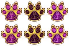 Pata 2018 del perro del Año Nuevo Conjunto de etiquetas engomadas ilustración del vector