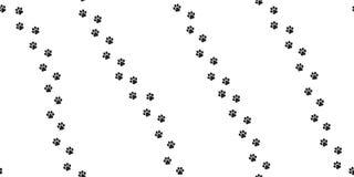 A pata do gato da cópia do pé do teste padrão do vetor de Paw Seamless do cão isolou o branco da caminhada ilustração royalty free