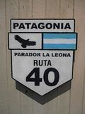 Patagonië Ruta Nacional 40 La Leona van Tekenparador royalty-vrije stock afbeelding