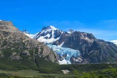 Patagonia Andes. Rocky summit of beautiful Cerro Chalten mountain range in El Chalten village, in the Southern Patagonia, border Argentina and Chile Stock Image