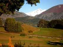 Patagonia Argentina Golf Resort. Scenic view of a golf resort in Patagonia, Argentina stock image