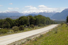 Patagonia, Chile. Carretera Austral in Patagonia landscape with Andes in the background, Chile Royalty Free Stock Image