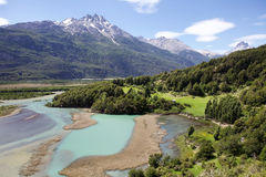 Patagonia, Chile. Patagonia landscape with Ibanez river and Andes in the background, Chile royalty free stock images