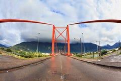 Patagonia, Chile. Red bridge Stock Photos