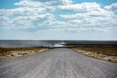 Patagonia endless road on sunny day Stock Photos