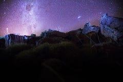 Patagonia för stjärnklar natt Arkivbild