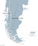 Patagonia and Falkland Islands political map Stock Photos