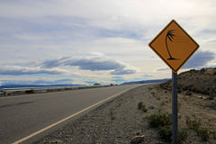 Patagonia high wind road sign yellow royalty free stock image