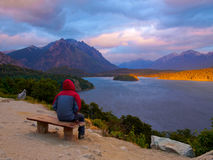 Patagonia landscape. Man contemplates the cold early morning in the summer of Patagonia - West Lake Perito Moreno - Bariloche - Argentina Stock Photography
