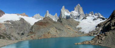 Patagonia mountain Fitz Roy and lake in Argentina Stock Photo
