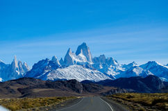 Patagonia. Picture taken in The Patagonia Argentina, at the highway, you can see the big mountains and the blue sky Royalty Free Stock Images